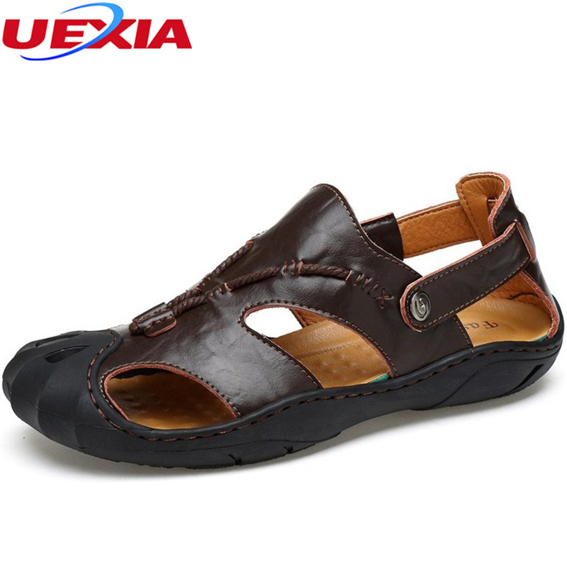 UEXIA New Outdoor Leather Cowhide Men Sandals Designer Classical Summer Flats Footwear Beach Casual Shoes Rubber sole Breathable