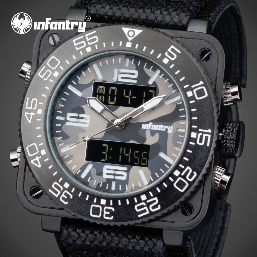 INFANTRY Men Digital Watches Relojes Luxury Brand Waterproof Square Face Chronograph Camo Quartz Watches Military Alarm