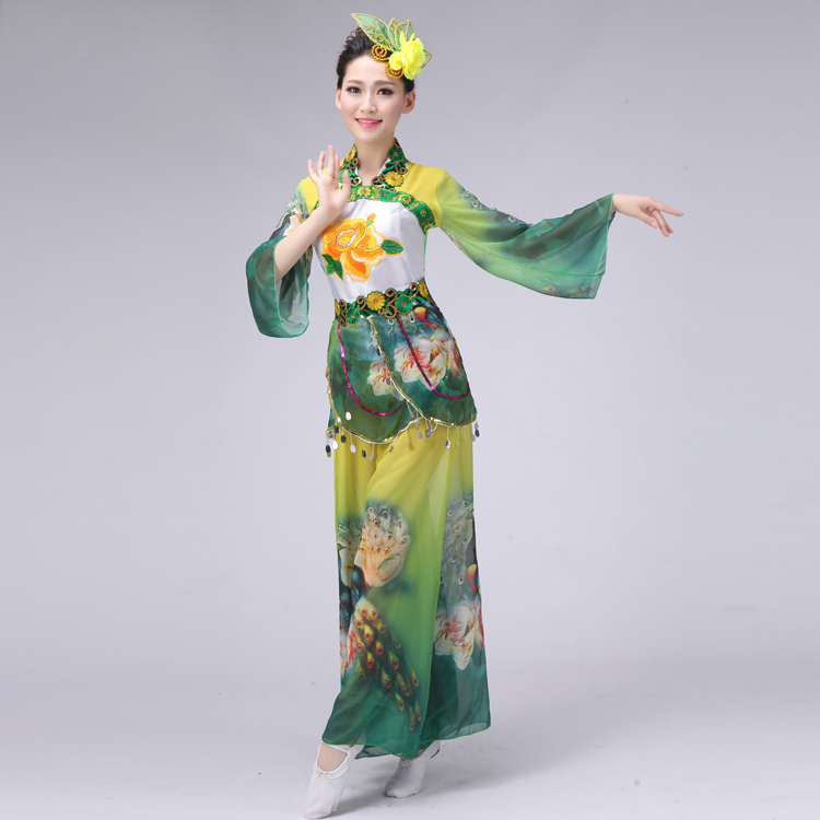 (088) woman Chinese classical dance costume elegant peacock dance costumes embroidered female yangko/umbrella dance clothing