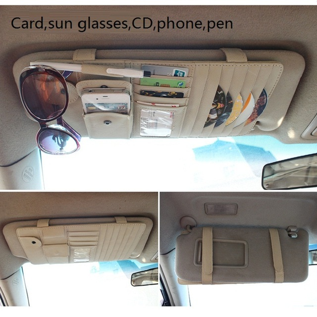car sun visor cover multi-function holder for sun glasses case name card pen clip cigarette phone holder 6pcs DISC CD  2002