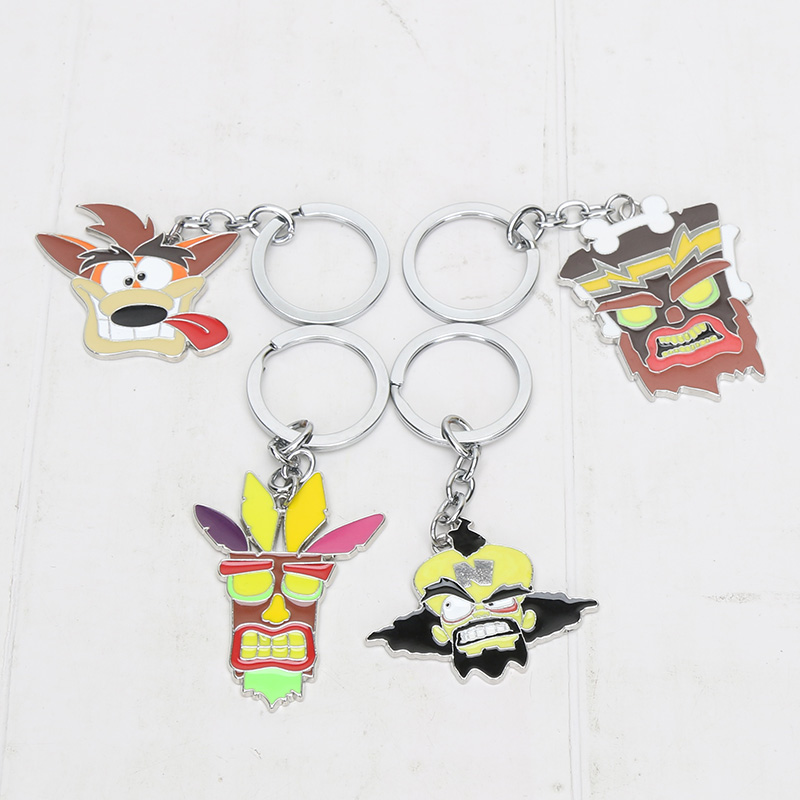 Keyring Pendant-Figure-Toys Key-Holders Crash Bandicoot Anime Dog-Keychain Game Cosplay