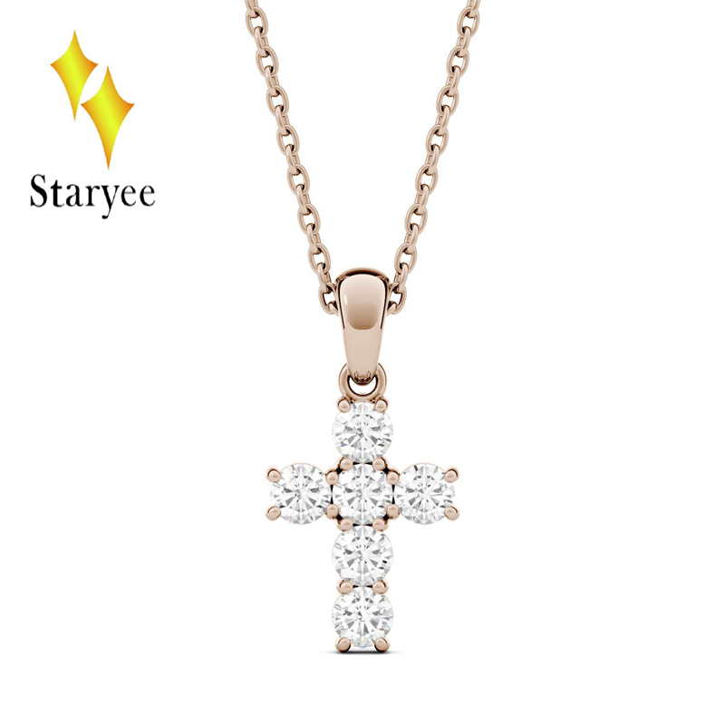 Test Positive Real 18K Rose Gold Round Brilliant Lab Grown Moissanite Diamond Cross Pendant Necklaces For Men Women transgems 18k white gold 0 5 carat 5mm lab grown moissanite diamond solitaire pendant necklace for women jewelry wedding