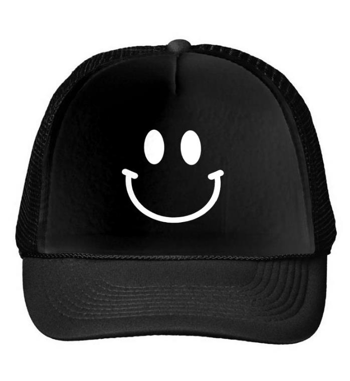 Happy Smiley Face Print Baseball Cap Trucker Hat For Women Men Unisex Mesh Adjustable Size Drop Ship Black White M-20 chemo skullies satin cap bandana wrap cancer hat cap chemo slip on bonnet 10 colors 10pcs lot free ship