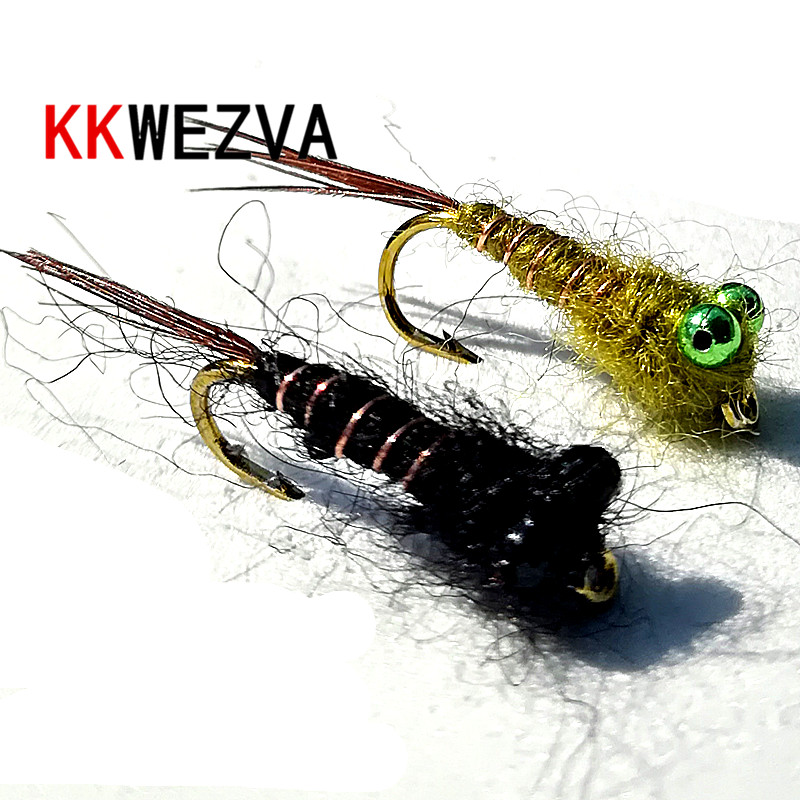 KKWEZVA 20pcs chain bead copper wire material for larva fly fishing Fly for Trout Fishing Nymphing Artificial Insect Bait Lure