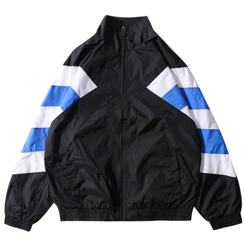 Hommes Vintage coupe-vent vestes rétro collège multicolore Hip Hop Streetwear Harajuku coréen automne surdimensionné veste unisexe