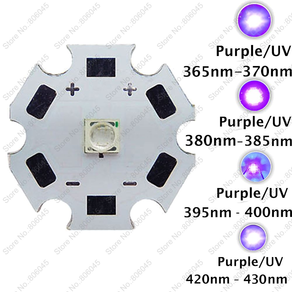 10pcs 3W 3535 UV Ultraviolet Purple Color Epileds High Power LED Light Emitter 365nm - 370nm 380nm - 385nm 395nm - 405nm 420nm 50w high power led lamp light uv purple 420nm 430nm led emitter dc 30 36v 1700ma led bulb lighting
