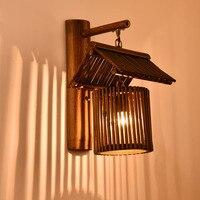Retro bambu arte lâmpada de parede quarto lâmpada cabeceira pub criativo Luminárias de parede     -
