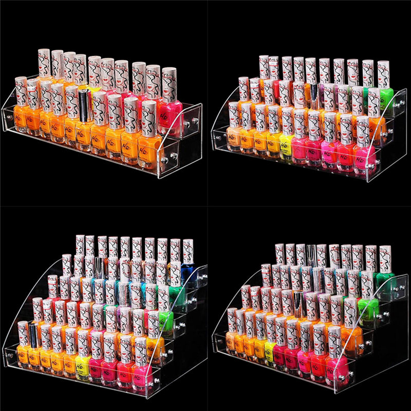 New Multi-layer Transparent Acrylic Display Stand Nail Polish Cosmetic Stand Holder Manicure Tool Organizer Storage Rack