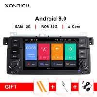 Xonrich 4GB RAM 8 Core AutoRadio 1 Din Android 9.0 lecteur DVD de voiture pour BMW E46 M3 318/320/325/330/335 Rover 75 coupé 1998-2006 GPS Navigation multimédia unité de tête stéréo Audio BT Wifi SWC PX5