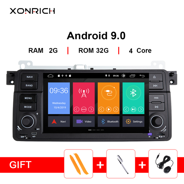 Xonrich AutoRadio 1 Din Android 9.0 Car DVD Player For BMW E46 M3 318/320/325/330/335 Rover 75 1998-2006 GPS Navigation BT Wifi