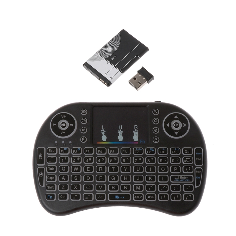 Rechargeable 7/3 Color Backlit i8 Wireless Keyboard 2.4GHz Touchpad Fly Air Mouse PC TV PS3
