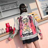 Graffiti Print Jean Jacket 2018 women Rock Punk Chains Denim Coat Handsome Holes Vintage Coat Long Sleeve Cartoon LT682S40