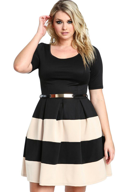 Big Girl 3XL Office Ladies Dresses Fall Patchwork White Stripes Detail  Belted Plus Size Skater Dress Vestido Work Clothing a748eced5800
