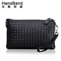 HANSBAND 2017 New Genuine Leather Sheepskin Knitting Men S Clutch Bag Men Wallets Large Capacity Business