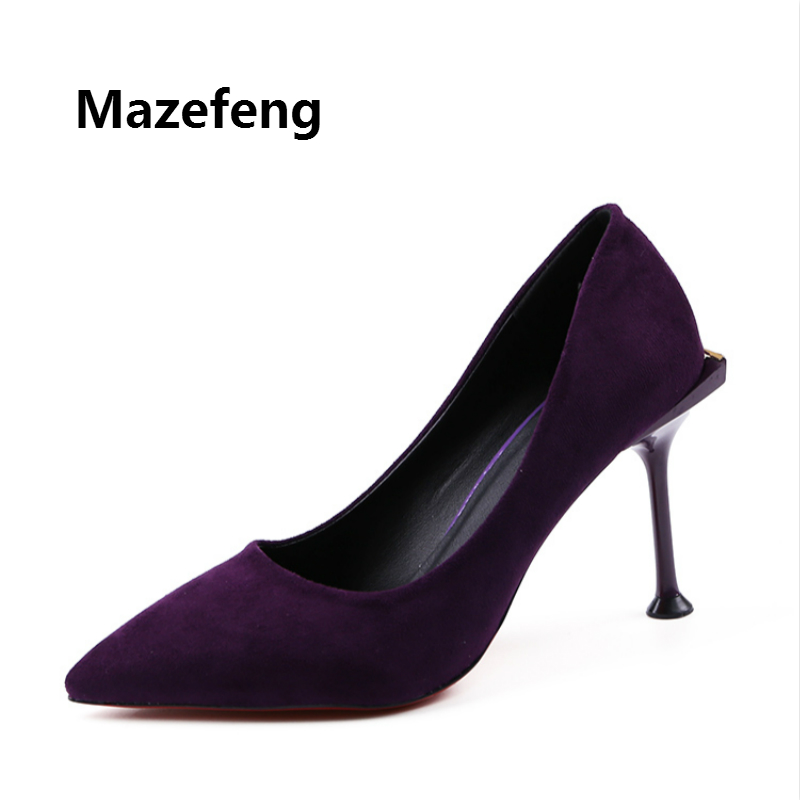 Mazefeng 2018 Summer Women High-heeled Shoes Mature Simple Style Women Pumps Single Pointed Toe Ladies Pumps Classics Thin Heels