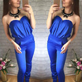 Rompers Womens Jumpsuit 2016 Fashion Full Length Pockets Pants Sleeveless Strapless Bodysuit Women Sexy Off Shoulder Jumpsuits