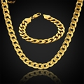 Thick Gold Chain Set Wholesale Gold Plated Men Jewelry Necklace Bracelet Dubai Jewelry Sets , Mens Stainless Steel Chains