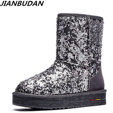 JIANBUDAN Leather cowhide warm Womens snow boots ladies sequined winter cotton Genuine Plush 35-40
