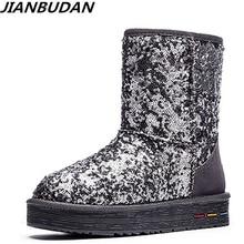 JIANBUDAN cuir de vachette chaud femmes bottes de neige dames paillettes hiver coton bottes en cuir véritable peluche bottes de neige 35 40