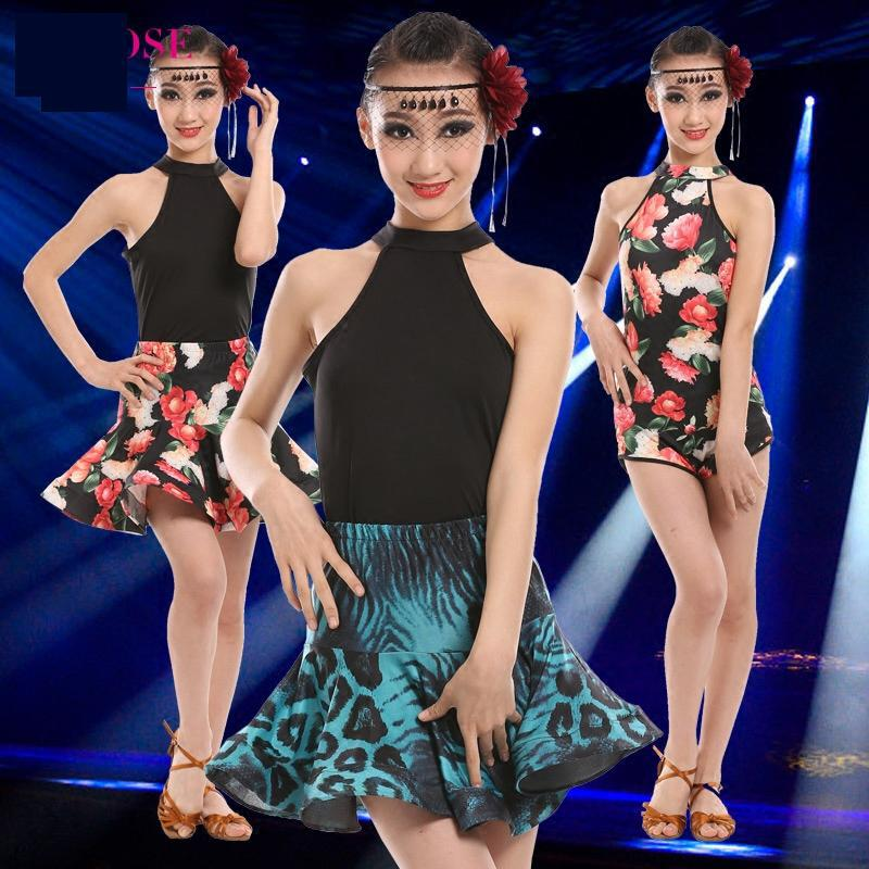 2019 Women Girls Modern Ballroom Latin Printing Leopard Dance Dress Salsa Tango Dance Wear Black Performance Stage Wear 3 Colors