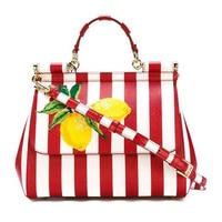 Luxury Handbags Sicily Bags Women Fruit Printing Designer Tote Bags Famous Brand Genuine Leather Female Shoulder Bag/Handbag Sac