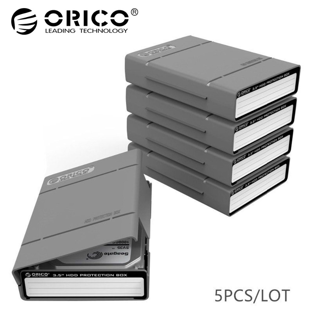 ORICO 3.5 Inch Hdd Case Protable Hard Drive Box External Sata To Hard Disk With Waterproof Shockproof Function 5 pcs/ lot Grey orico aluminum 2 5 3 5 inch hard drive bracket converter