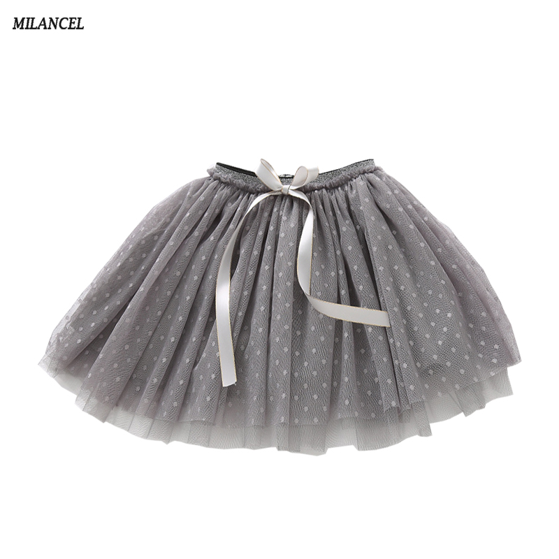 MIlANCEL 2018 Girl Skirt Mesh Kids Tutu Skirts Bow Style Pettiskirt Children's Party Clothes Cute Dance Skirt for Girls