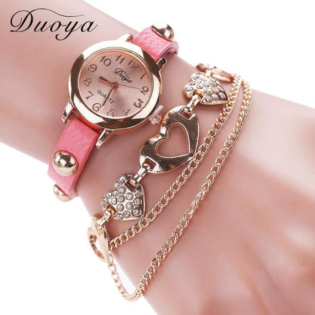 Duoya Luxury Brand Women Bracelet Watch Temperament Ladies Quartz Dress Watches Rose Gold  Leather Strap Wristwatch Girl Gift