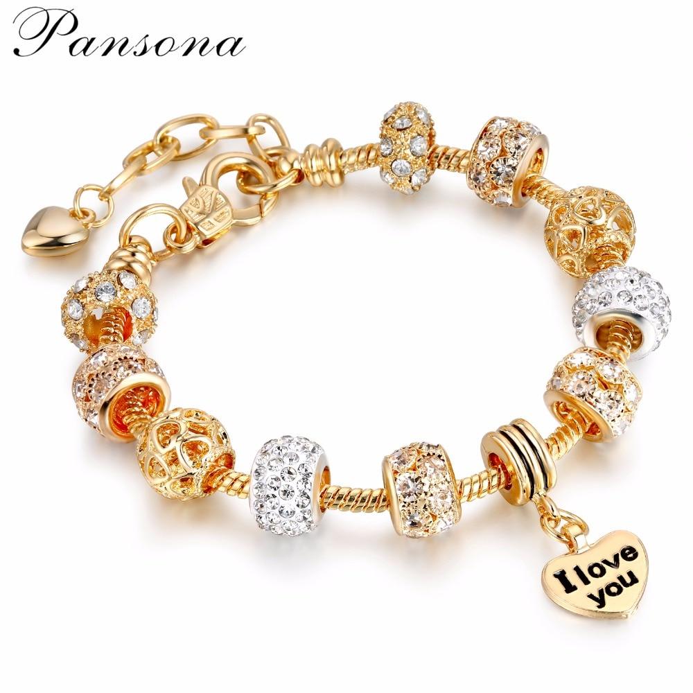 Pansona 925 Crystal Heart Charm Bracelets & Bangles Gold ...
