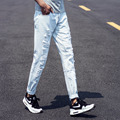 Summer Mens Jeans Skinny Slim 2016 Fashion Ripped Jeans Men Light Blue Holes Denim Pants Man Hot Sale Casual Jeans Pants Mens