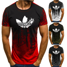 3D printing brand running t-shirt mens short-sleeved shirt O-neck stripe printed loose fitness T-shirt sports T-shi