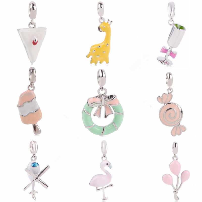 AIFEIL Airplane Donuts Candy Goblet Ice Cream Pendant Series DIY Suitable for Pandora Bracelet Original Charm European Jewelry