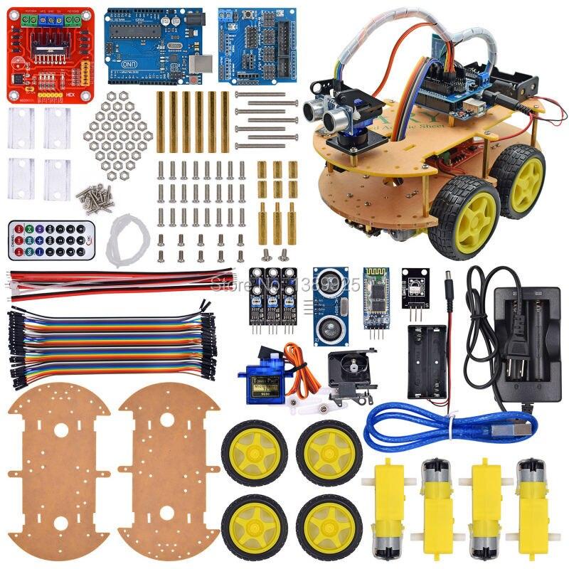 UNO traje de Seguimiento Chasis Robot Kit de Coche Bluetooth Compatible UNO R3 D