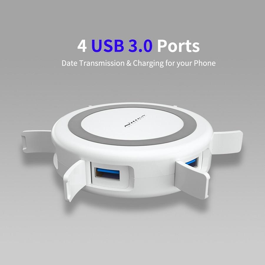 NILLKIN USB Продлить концентратор USB 3,0 5 Порты для Xiaomi Pocophone F1 для iPhone XS для samsung S8 Qi Беспроводной Зарядное устройство Android адаптер - 2