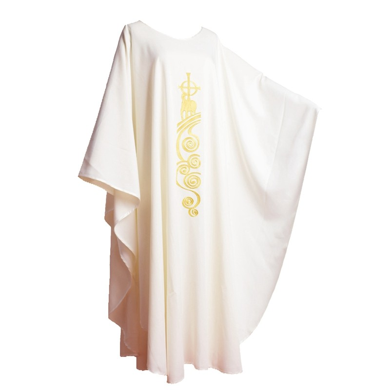 Chasuble Catholic White Church Lamb Embroidered Priest Vestments