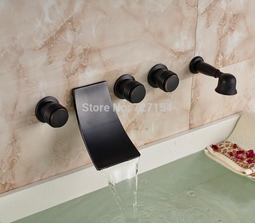 Waterfall Oil Rubbed Bronze Bathtub Faucet Hand Shower Sprayer 3 Handles Mixer