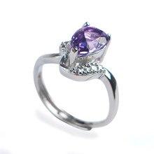 Genuine Natural Purple Crystal Quartz Transparent Stone Bead Adjustable Size Women Nice Stering Sliver Ring 9*6*4mm