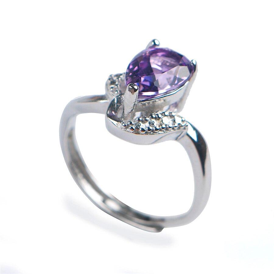 Genuine Natural Roxo Cristal de Quartzo Transparente Talão de Pedra Tamanho Ajustável Mulheres Agradável Lasca Stering Anel de 9*6*4mm