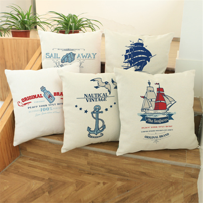 Northern Europe Navigation Series Sailing Boat Anchor Pattern Throw Pillow Cushion Cover for Home Sofa Car Pillowcase 45x45cm