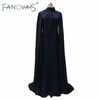 Dark Royal Blue Lace Evening Dresses With Cape Muslim Vintage Elegant Evening Gowns Formal Party Wear Mother evening Dresses
