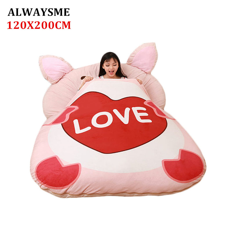 ALWAYSME 120x200CM Animal One Piece Design Lazy Animal Sofa Bed Cover Tatami Mats Without Filler Cotton Inside