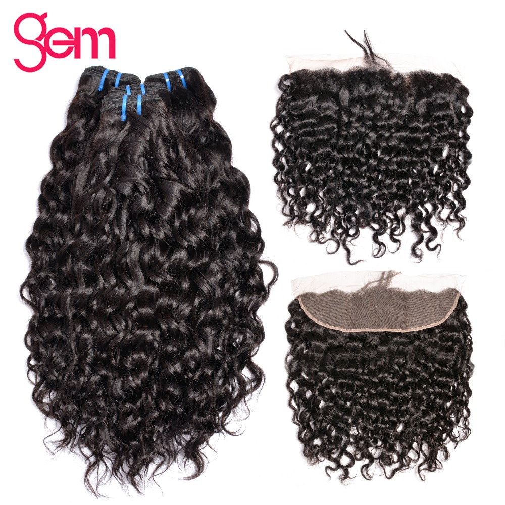 Brazilian Water Wave Bundles With Frontal 13x4 Ear To Ear Lace Frontal Closure With 3 Bundles