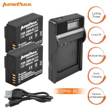2Pack 7.2V 1800mAh DMW-BLC12 Li-ion Camera Battery+1Port Battery Charger with LED For Panasonic FZ1000 FZ200, FZ300 G5 G6 G7 L10 недорого