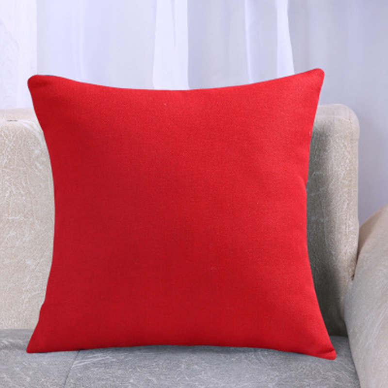 2018 NEW Pillowcases Solid color Red Blue Cotton Linen Waist Pillow Cushion Cover Car Sofa Seat Chair Pillowcase Home Textile in Cushion Cover from Home Garden