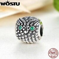 Hot Sale Vintage 925 Sterling Silver Wise Owl Charm With Dark Green CZ Fit Original Bracelet