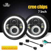 """CO LIGHT 7 Inch Led Headlight H4 H13 Round Shape 7"""" Headlights with Yellow & Amber Angel Eyes for Offroad Jeep Wrangler Bike"""