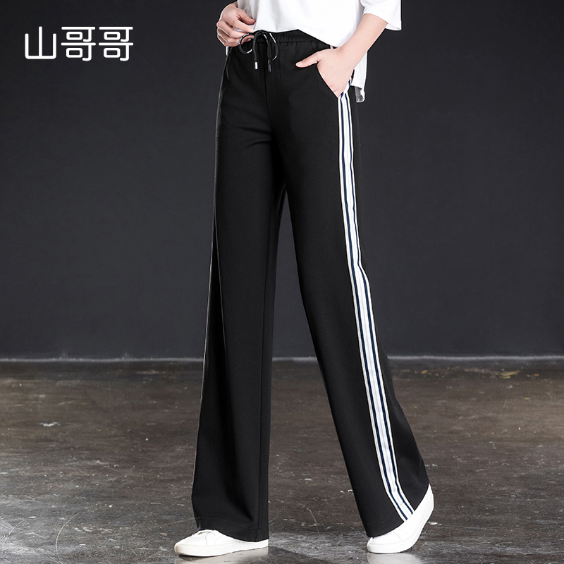 2019 New Women Full Length Sports Trousers Loose Elastic Waist Solid High Waist   Wide     Leg     Pants   Spring Summer best Black