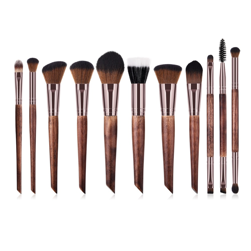 цены BBL 11pcs Coffee Makeup Brushes Premium Makeup Brush Set Professional Luxury Wood Handle Powder Blending Brush Cosmetics Tools