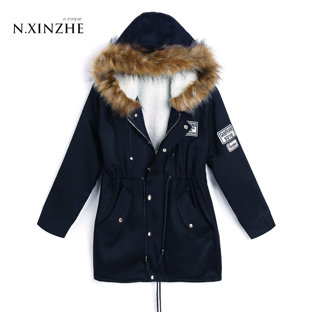 N.XINZHE Winter Coats Women Jackets Hooded Fur Collar Thick Cotton Padded Lining Ladies Down & Parkas Navy Blue color