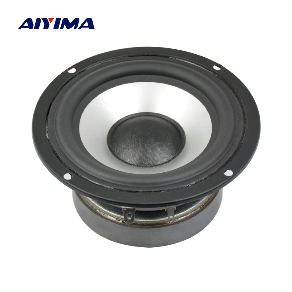Aiyima 1PC 4inch Full Frequency Speakers HiFi 8ohm 25W Rubber Edge Loudspeaker Desk Computer Speaker